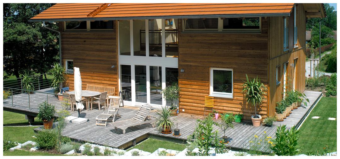 Moser Holzbau Rahmenhaus Fassade Lärche   Außenansicht