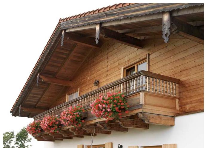 Moser Holzbau Blockhaus Balkon | Außenansicht