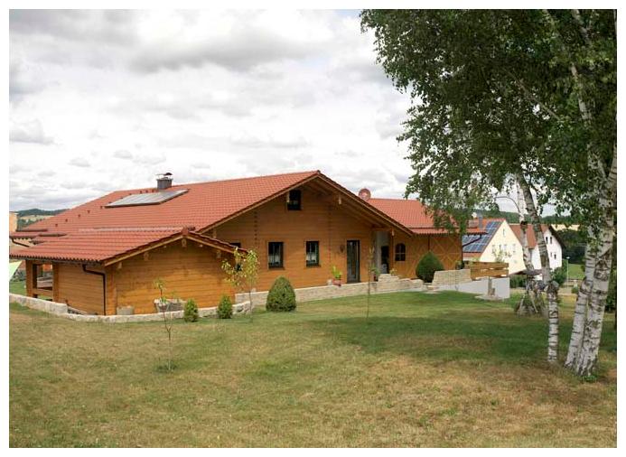 Moser Holzbau Blockhaus mit Wiese